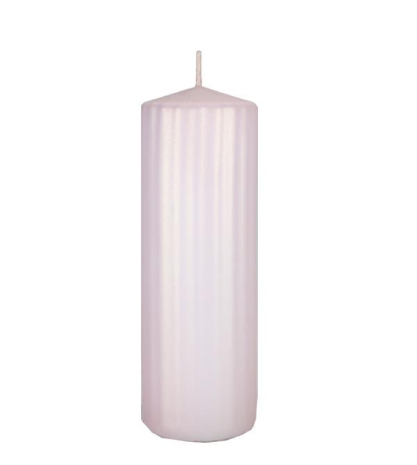 Świeca-świeczka-walec-ryflowana-70×200-różowa-akier-perłowy-matowy-L28